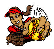 Fastpitch Softball Girl Cartoon royalty free illustration