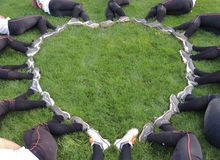 Fastpitch Softball Heart. A girls fastpitch softball team used their cleats to make a heart Stock Photography
