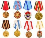 Fastställd Ð ¡ ollage för samling av ryska sovjetiska medaljer för Participati Royaltyfria Bilder