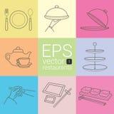 Fastställd översikt som är planimetric, kontur, planimetric linje av symboler på temat av restaurangerna, matleverantörer som skö Royaltyfri Fotografi