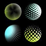 Fastställd abstrakt halvton 3D spheres_2 Royaltyfria Bilder