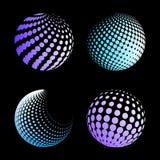 Fastställd abstrakt halvton 3D spheres_3 Royaltyfri Foto