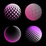 Fastställd abstrakt halvton 3D spheres_4 Royaltyfri Fotografi
