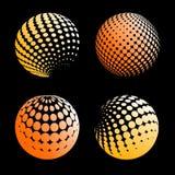 Fastställd abstrakt halvton 3D spheres_5 Arkivbild