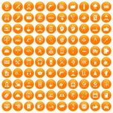 fastställd apelsin för 100 servicesymboler royaltyfri illustrationer