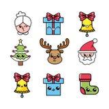 Fastställd beröm för glad jul som semestrar garnering stock illustrationer