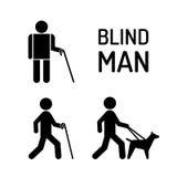 Fastställd blind man och se ögonhunden Arkivbilder