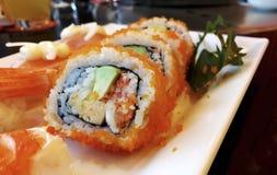 Fastställd closeup för sushi Arkivbild