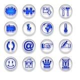 Fastställd del 2 för blåa rengöringsduksymbolsknappar Royaltyfri Fotografi