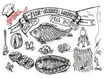 Fastställd design för att laga mat - fisk och skaldjur på en vit bakgrund Arkivbilder