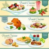 Fastställd design för franskt populärt matbaner för kokkonst stock illustrationer