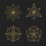 Fastställd design för guld- geometri Fotografering för Bildbyråer