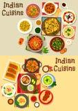Fastställd design för indisk sund matställesymbol för kokkonst royaltyfri illustrationer