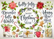 Fastställd design för jul av julstjärnan, granfilialer, kottar, järnek och annan växter Räkning inbjudan, baner som hälsar c vektor illustrationer