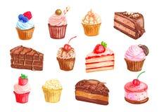 Fastställd design för kaka- och muffinefterrättvattenfärg vektor illustrationer