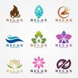 Fastställd design för logovektor för massage och brunnsortaffär Arkivbilder
