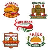Fastställd design för mexicanskt matrestaurangemblem royaltyfri illustrationer