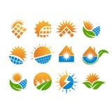 Fastställd design för sol- logo, vektor, illustration som är klar att använda royaltyfri illustrationer