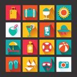 Fastställd design för sommarsymboler. Symboler för rengöringsdukdesign och infographic. Ve Royaltyfri Bild