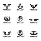 Fastställd design för svart grå Eagle vektorlogo Royaltyfri Foto
