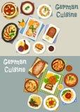 Fastställd design för tysk festlig matställesymbol för kokkonst royaltyfri illustrationer