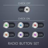 Fastställd design för website för färger för radioknappar av och på olik Royaltyfria Foton