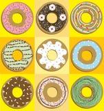 Fastställd donutsdesign för vektor för sött socker Royaltyfri Fotografi