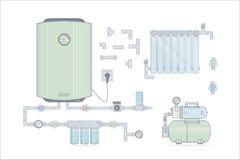 Fastställd elkraft för vattenvärmeapparat Illustrationer för online-lagret av rörmokeri vektor illustrationer