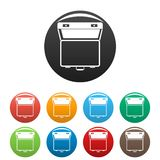 Fastställd färg för öppna resväskasymboler royaltyfri illustrationer