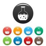 Fastställd färg för kemiska runda flaskasymboler royaltyfri illustrationer