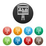Fastställd färg för konferensbanersymboler royaltyfri illustrationer