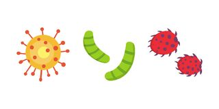 Fastställd färgrik virusvektorillustration Bakterier och mikro-organismer i tecknad filmstil vektor illustrationer
