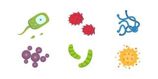 Fastställd färgrik virusvektorillustration Bakterier och mikro-organismer i tecknad filmstil stock illustrationer