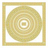 Fastställd fris för vektor med för prydnadslingringar för tappning guld- grekisk Grekland för modell konst Royaltyfri Foto