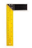 Fastställd fyrkant för linjal som isoleras på vit royaltyfri foto
