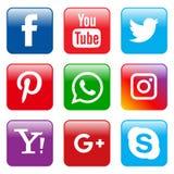 Fastställd fyrkant för populära sociala massmediasymboler royaltyfri illustrationer