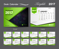 Fastställd grön design 2017, räkningsskrivbordkalender för mall för skrivbordkalender stock illustrationer