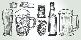 Fastställd gravyr för öl stock illustrationer