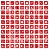fastställd grunge för 100 röd lärande ungesymboler Royaltyfria Foton