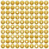 fastställd guld för 100 diagnostiska symboler stock illustrationer