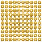 fastställd guld för 100 servicesymboler royaltyfri illustrationer