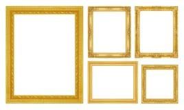 Fastställd guld- ram som isoleras på vit Arkivbilder