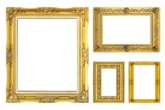 Fastställd guld- ram som isoleras på vit bakgrund Arkivbild