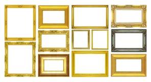Fastställd guld- ram som isoleras på vit bakgrund Arkivbilder