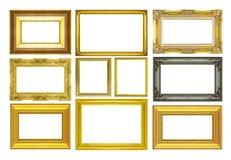 Fastställd guld- ram som isoleras på vit bakgrund Royaltyfria Foton