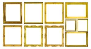Fastställd guld- ram som isoleras på vit bakgrund Royaltyfri Fotografi