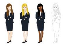 Fastställd gullig affärskvinna som tänker för att göra beslut Full kroppvektorillustration royaltyfri illustrationer