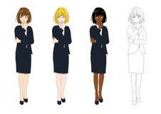 Fastställd gullig affärskvinna som tänker för att göra beslut Full kroppvektorillustration stock illustrationer