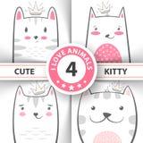 Fastställd gullig nätt katt och potttecken royaltyfri illustrationer