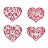 Fastställd hand drog hjärtor Designbeståndsdelar för dag för valentin` s stock illustrationer